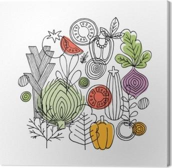 Quadro em Tela Composição redonda dos vegetais. gráfico linear. fundo de legumes. estilo escandinavo. comida saudável. ilustração vetorial