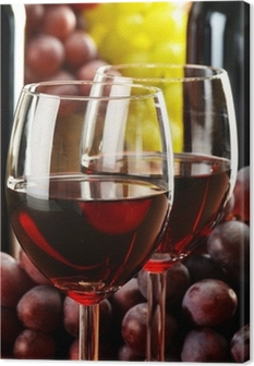 Quadro em Tela Composition with two glasses and bottles of wine