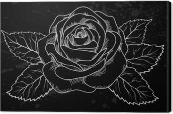 Quadro em Tela Contorno de rosa branca linda com manchas cinza sobre um fundo preto