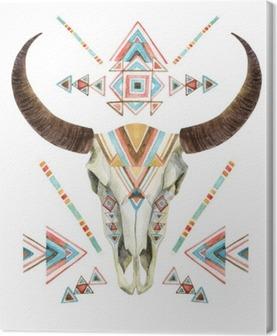 Quadro em Tela Crânio da vaca no estilo tribal. Crânio animal com ornamento étnicos