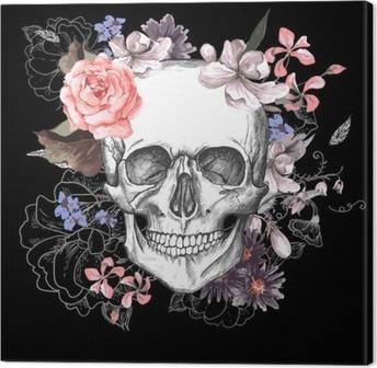 Quadro em Tela Crânio e flores dia dos mortos