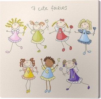 Quadro em Tela Cute fairies illustration