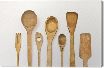 Quadro em Tela different kitchen wooden utensils on a white background