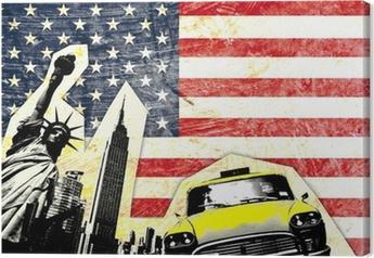 Quadro em Tela drapeau américain avec statue de la liberté taxi jaune