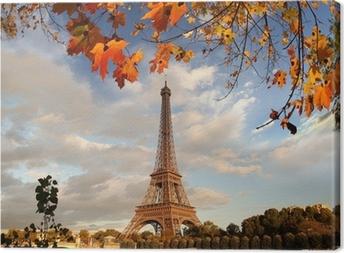 Quadro em Tela Eiffel Tower with autumn leaves in Paris, France
