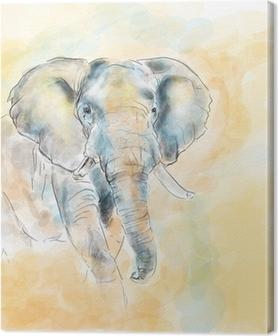 Quadro em Tela Elephant aquarelle painting imitation