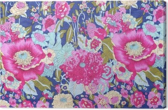 Quadro em Tela Estilo vintage das flores de tapeçaria tecido de fundo padrão