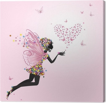 Quadro em Tela Fairy with a valentine of butterflies