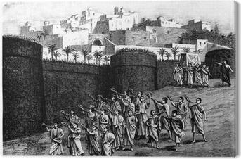 Quadro em Tela Falling the walls of Jericho - Biblical scene