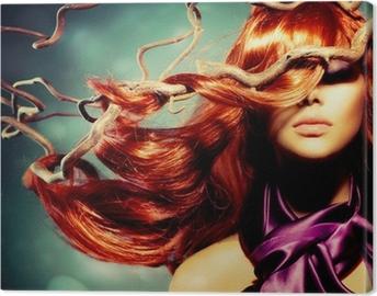 Quadro em Tela Fashion Model Woman Portrait with Long Curly Red Hair