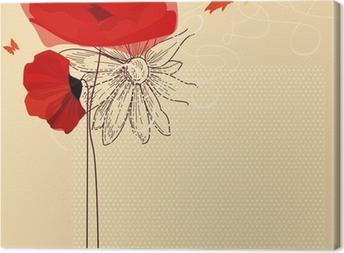 Quadro em Tela Floral invitation, poppies and butterfly vector
