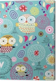 Quadro em Tela flower texture with owls