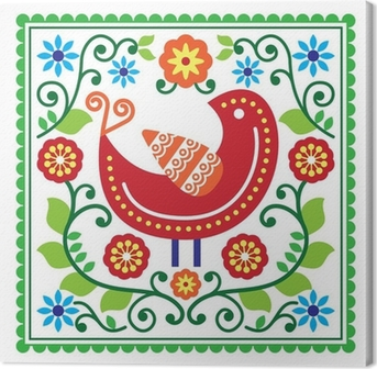 Quadro em Tela Folk art vector pattern with bird and flowers