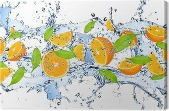 Quadro em Tela Fresh oranges in water splash,isolated on white background