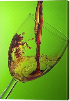 Quadro em Tela Glass of wine, splash of red wine