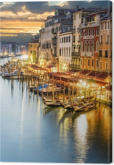 Quadro em Tela Grand Canal at night, Venice