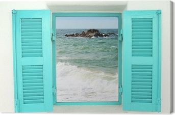 Quadro em Tela Greek style window with sea view