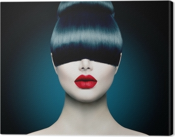 Quadro em Tela High Fashion Model Girl Portrait with Trendy Fringe