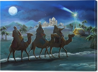 Quadro em Tela Illustration of the holy family and three kings