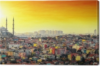 Quadro em Tela Istanbul Mosque with colorful residential area in sunset