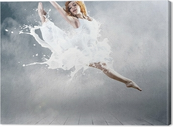 Quadro em Tela Jump of ballerina with dress of milk