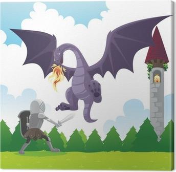 Quadro em Tela Knight fighting dragon