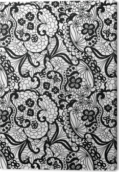 Quadro em Tela Lace black seamless pattern with flowers on white background