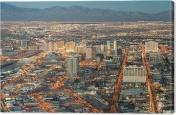 Quadro em Tela Las Vegas Downtown - Aerial view of generic buildings before sun