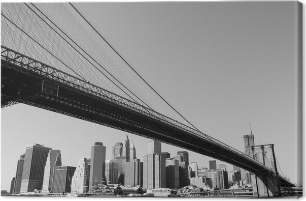 Quadro em tela manhattan bridge and lower manhattan skyline new
