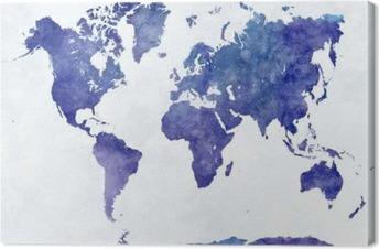 Quadro em Tela Mapa do mundo em aquarela