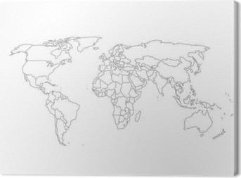 Quadro em Tela Mapa Político Mundial