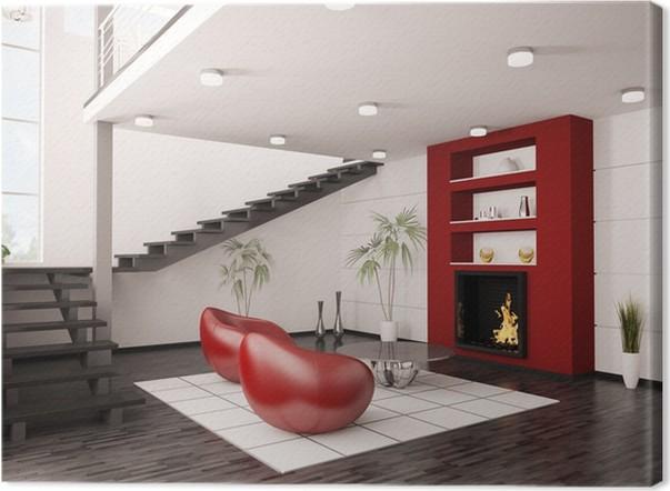 Quadro Em Tela Modern Interior Wohnzimmer Mit Kamin Und Treppe 3d Render