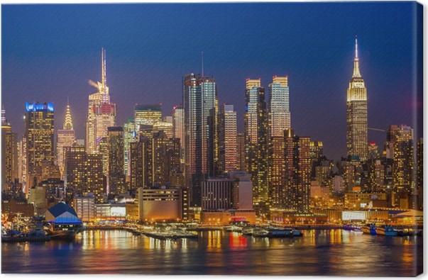Quadro em Tela New York City Manhattan edifícios midtown skyline da noite - Nova York