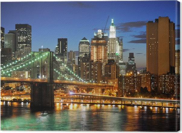 Quadro em tela new york manhattan bridge after sunset u2022 pixers