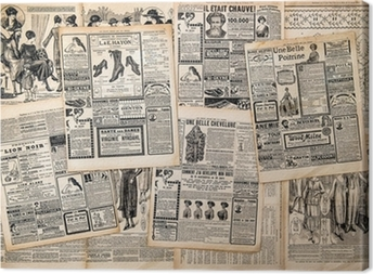 Quadro em Tela Newspaper pages with antique advertising