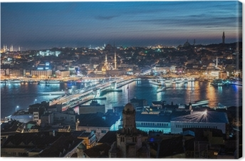 Quadro em Tela night Istanbul Galata bridge Bosphorus