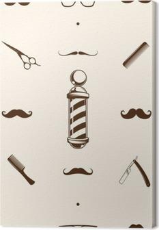 Quadro em Tela Padrão barbearia Seamless