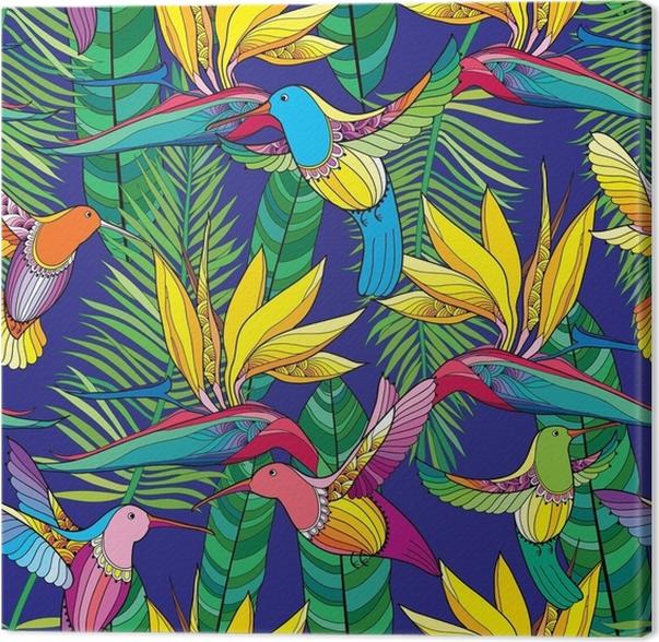 quadro em tela padrão sem emenda vetorial com strelitzia reginae e
