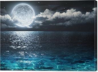 Quadro em Tela Panorama romântico e pitoresco, com lua cheia em mar para a noite