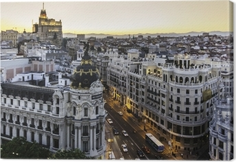 Quadro em Tela Panoramic view of Gran Via, Madrid, Spain.