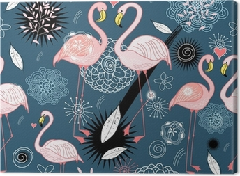 Quadro em Tela pattern of love flamingos