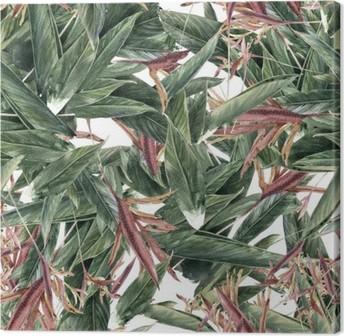 Quadro em Tela Pintura da aguarela de folhas e flores, teste padrão sem emenda