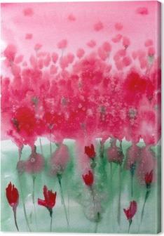 Quadro em Tela Pintura em aquarela. prado Fundo com flores vermelhas.