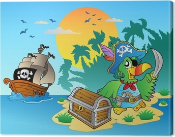 Quadro em Tela Pirate parrot and chest on island