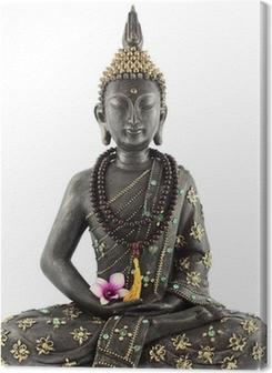 Quadros em tela premium Bouddha avec chapelet de prière et fleur d'orchidée