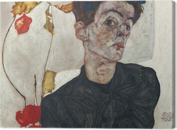 Quadros em tela premium Egon Schiele - Auto-retrato - Reproduções