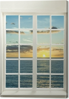 Quadros em tela premium Modern residential window with sunset over sea and clouds