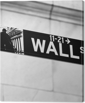 Quadros em tela premium Wall Street road sign in the corner of New York Stock Exchange