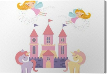 Quadro em Tela Projeto-de-rosa bonito da ilustração do vetor do castelo da fantasia