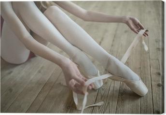 Quadro em Tela putting on ballet shoes